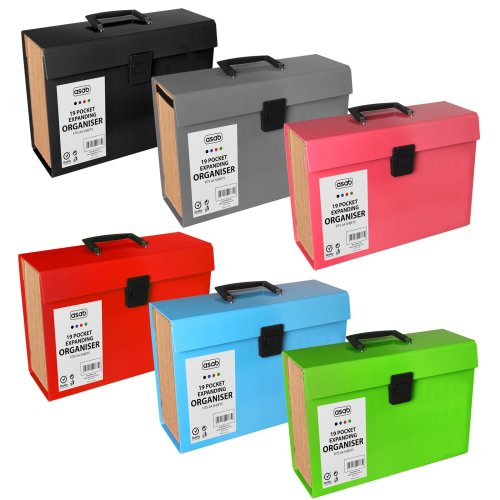 19 Pocket Expanding Box File Organiser A4 Paper Documents Foolscap Folder Case