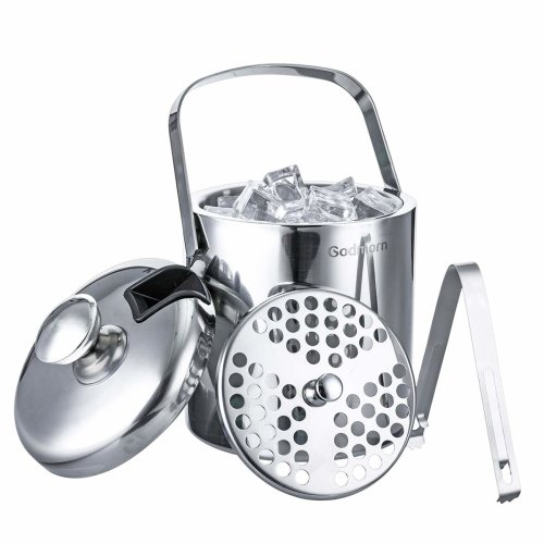 Godmorn Ice Bucket with Lid and Tongs Double Walled 304 Stainless Steel 1.3 Litre Insulated with Carry Handle Set Ice Cube Cooler Holder with Strainer
