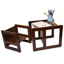 Obique Multifunctional Furniture Set of 2, 1 Chair & 1 Table, Dark