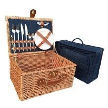2 Person Blue Tweed Fitted Picnic Basket