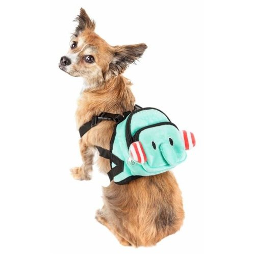 Pet Life BP5BLMD Dumbone Dual-Pocketed Compartmental Animated Dog Harness Backpack, Blue - Medium