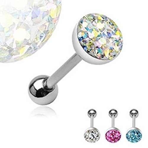 Large 8mm Austrian Crystal Encrusted Ferido Dome Tongue Bar Piercing Thickness : 1.6mm Length : 16mm Material : Surgical Steel