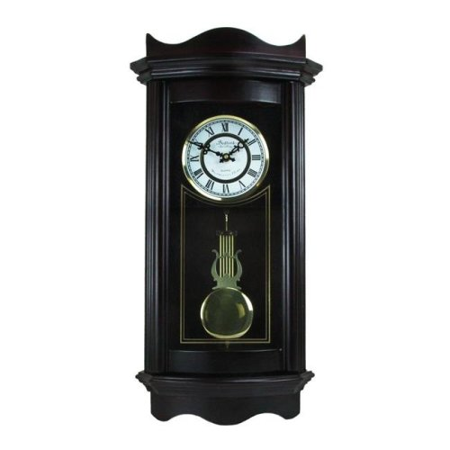 Bedford Clock Collection BED1248CHK 25 in. Weathered Chocolate Cherry Wood Wall Clock with Pendulum
