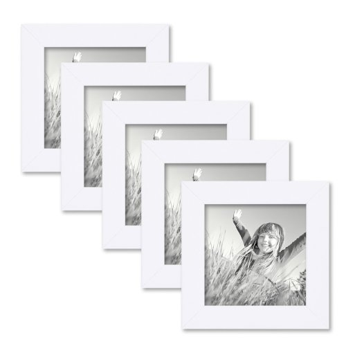 Set of 5 Picture Frames with Dimensions of 10x10 cm / 4 x 4 Inch, in White, Modern, Solid Wood, with Glass Insert, including Accessories/Photo Frame