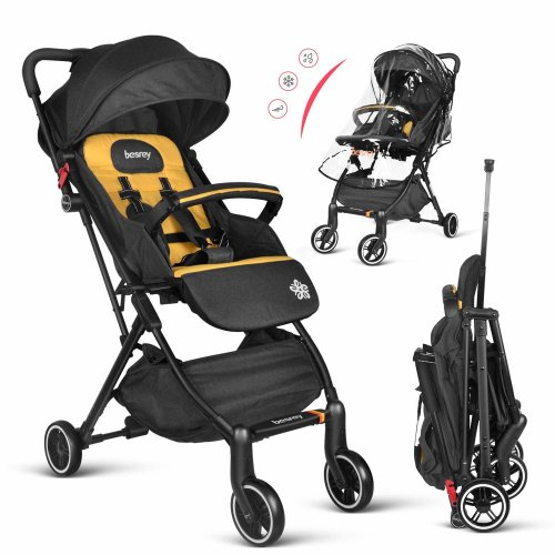 Besrey Stroller Lightweight Pushchair Compact Buggy Foldable Suitable for Airplane - Yellow
