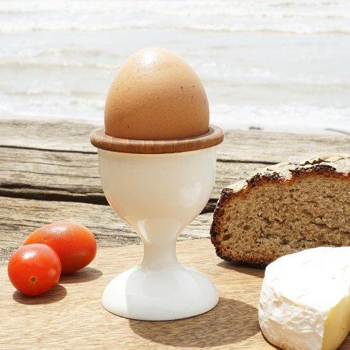 Teak Wooden Egg Cup Dante White
