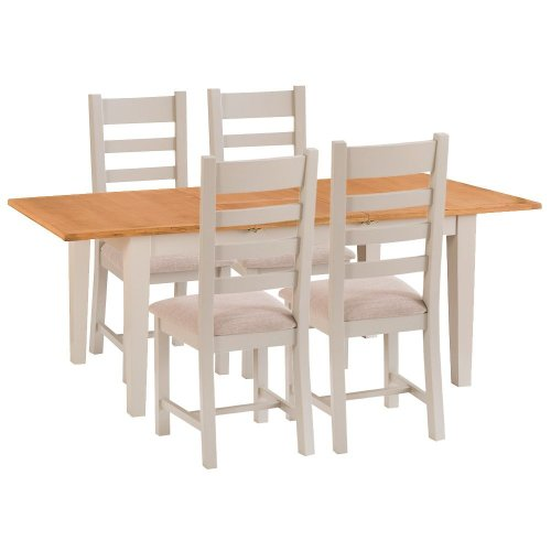 St. Ives Truffle Painted Oak 1.2m Ext. Table & 4 Fabric Seat Chairs
