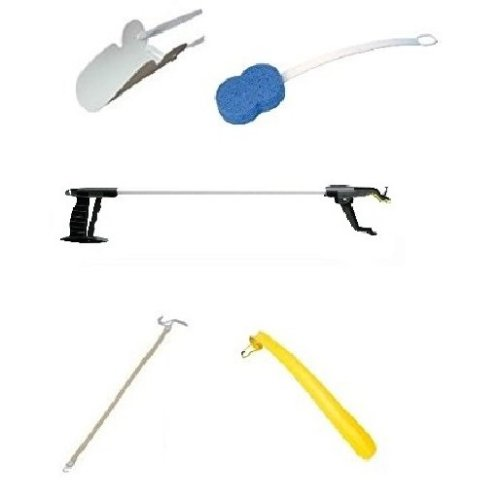 "Easy Reach KIT - Includes 32"" Deluxe Grabber, Sock Puller, Shoe Horn, Bath Sponge and Dressing Stick. Ideal for Hip Replacement Recovery."