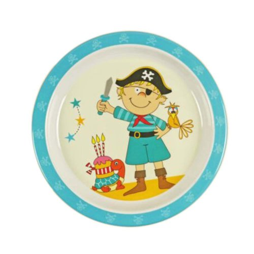 3 Pieces Of Fashion Cartoon Blue Pirate Pattern Drop Resistance Plate