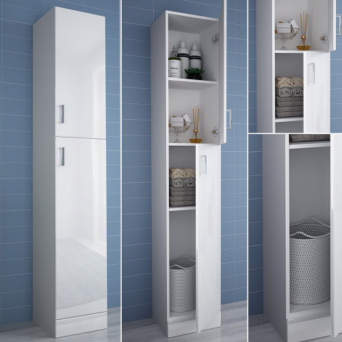 1.9m Tall Bathroom Cabinet High Gloss Storage Furniture Unit Cupboard