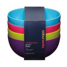 15cm Set Of 4 Colourworks Melamine Bowls