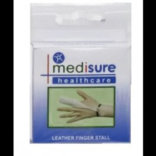 Medium Medisure Leather Finger Stall - Soft Dressing Protector Non Sweating -  finger stall leather soft dressing medisure medium protector non