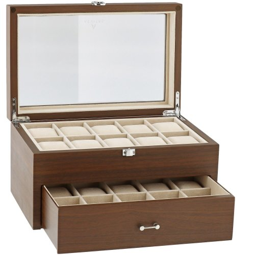 Natural Walnut Watch Collectors Box with Drawer for 20 Wrist watches by Aevitas