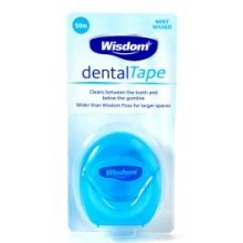 Wisdom Dental Mint Waxed Tape -  wisdom tape 50m dental mint waxed cleans between teeth below gumline