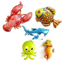 5 Pack Large Under The Sea Animal Balloons 38inch Cartoon Horse Balloon Octopus Shark Tropical Fish For Kid Birthday