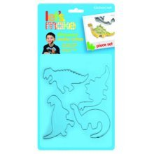 Set Of 4 Let's Make Metal Dinosaur Cookie Cutters