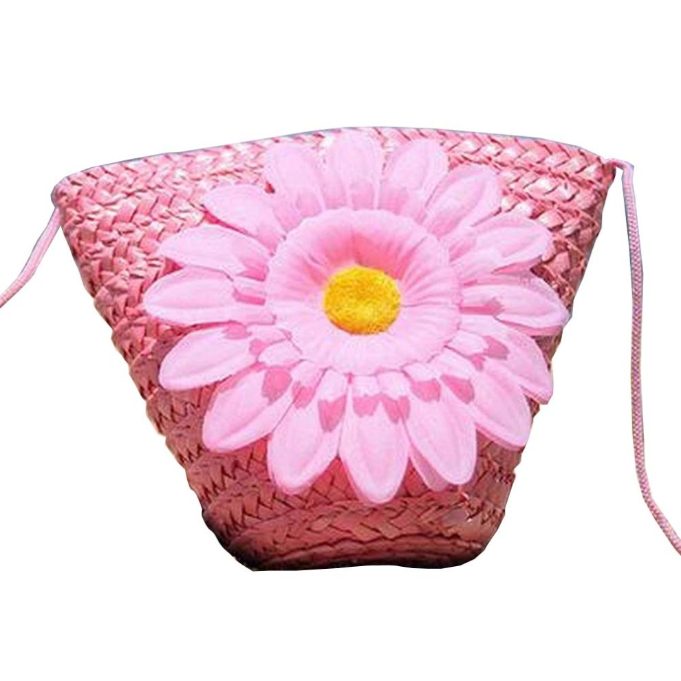 Pink Flower Girls Straw Messenger Bag Small Shoulder Bag Kids