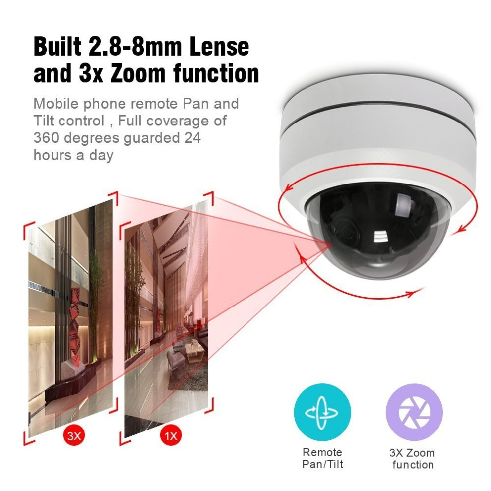 LEFTEK PoE PTZ IP Camera Mini 1080P 3X Zoom 3 5mm-10 5mm 20M IR Distance  CCTV Security Camera Outdoor IP67 Weatherproof High Speed IP PTZ Camera-