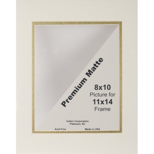 Callen Photo Mat Double Hand Cut with Bevel Edge 11 by 14 Inch Ivory Gold Core