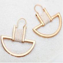 Geometric Dangle Earrings | Gold-Tone Semicircle Drop Earrings