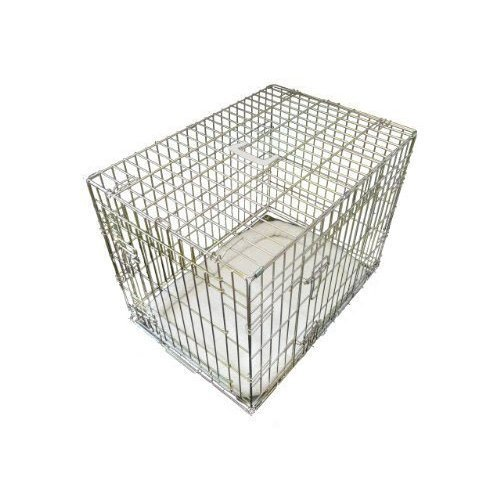 Ellie-Bo Deluxe Extra Strong 2 Door Folding Dog Puppy Cage with Faux Sheepskin Bed X Large 42 inch Gold