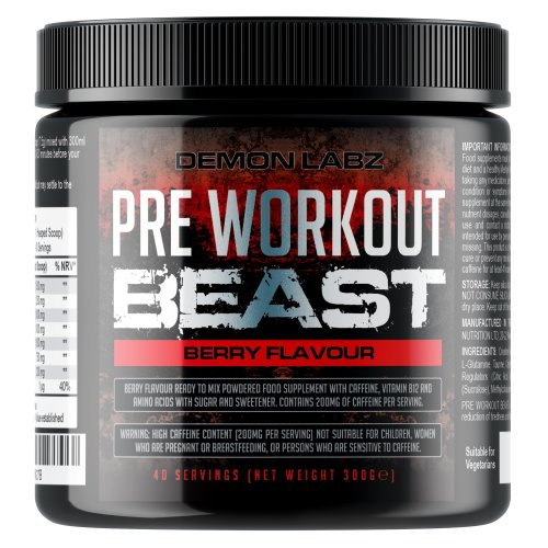 Pre Workout Beast (Berry Flavour) - 40 Servings (300 Grams)