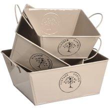 The Vintage Garden Set Of Three Square Tin Storage Baskets