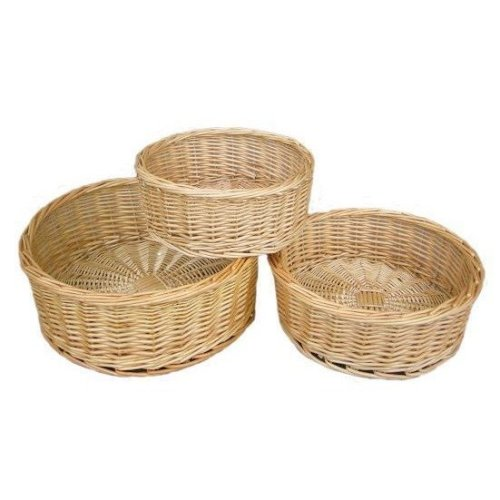 Set of 3 Round Straight-sided Wicker Tray