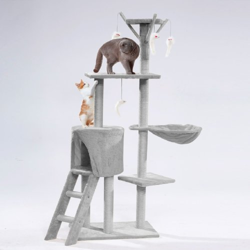 Details about  Cat Tree Scratching Climbing Post ladder Jumping Sleeping Pet Kitten Play Toy[Silver Grey]