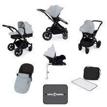 Ickle Bubba Stomp V3 All in One with Isofix Base - Silver on Black Frame