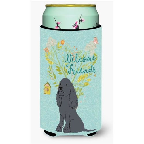 Carolines Treasures BB7618TBC Welcome Friends Black Cocker Spaniel Tall Boy Beverage Insulator Hugger