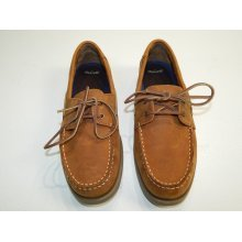 Men's Chestnut Leather Slip On Lace Up Casual Boat Shoes Size 9 M