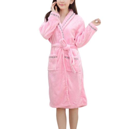 Casual Pajama Set Warm Sleepwear Women/Lovers Flannel Nightgown X-large-A4