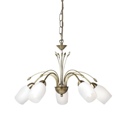 Traditional Brass 5 Arm Ceiling Light With Opal Glass - Dual Mount