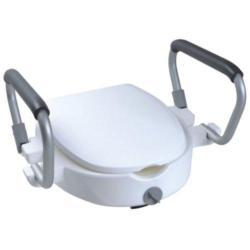 Parcura Raised Toilet Bidet Seat Toileting Aid with Armrests 120 kg White 84841