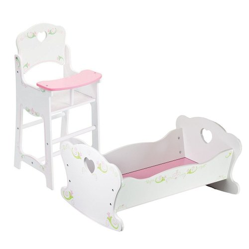 Doll High Chair and Cradle Furniture Set