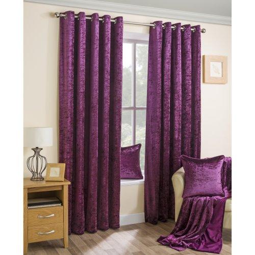 Velva Plum Crushed Velvet Eyelet Curtains