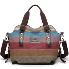 KONO Women Canvas Rainbow Multi-Color Stripes Hobo Shoulder Handbag