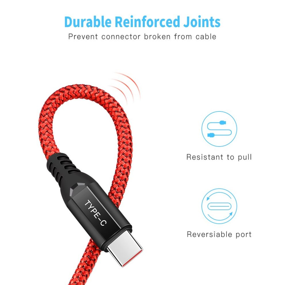 Acocobuy Dash Charger Cable 1m 3 3ft Nylon Braided Usb C Fast