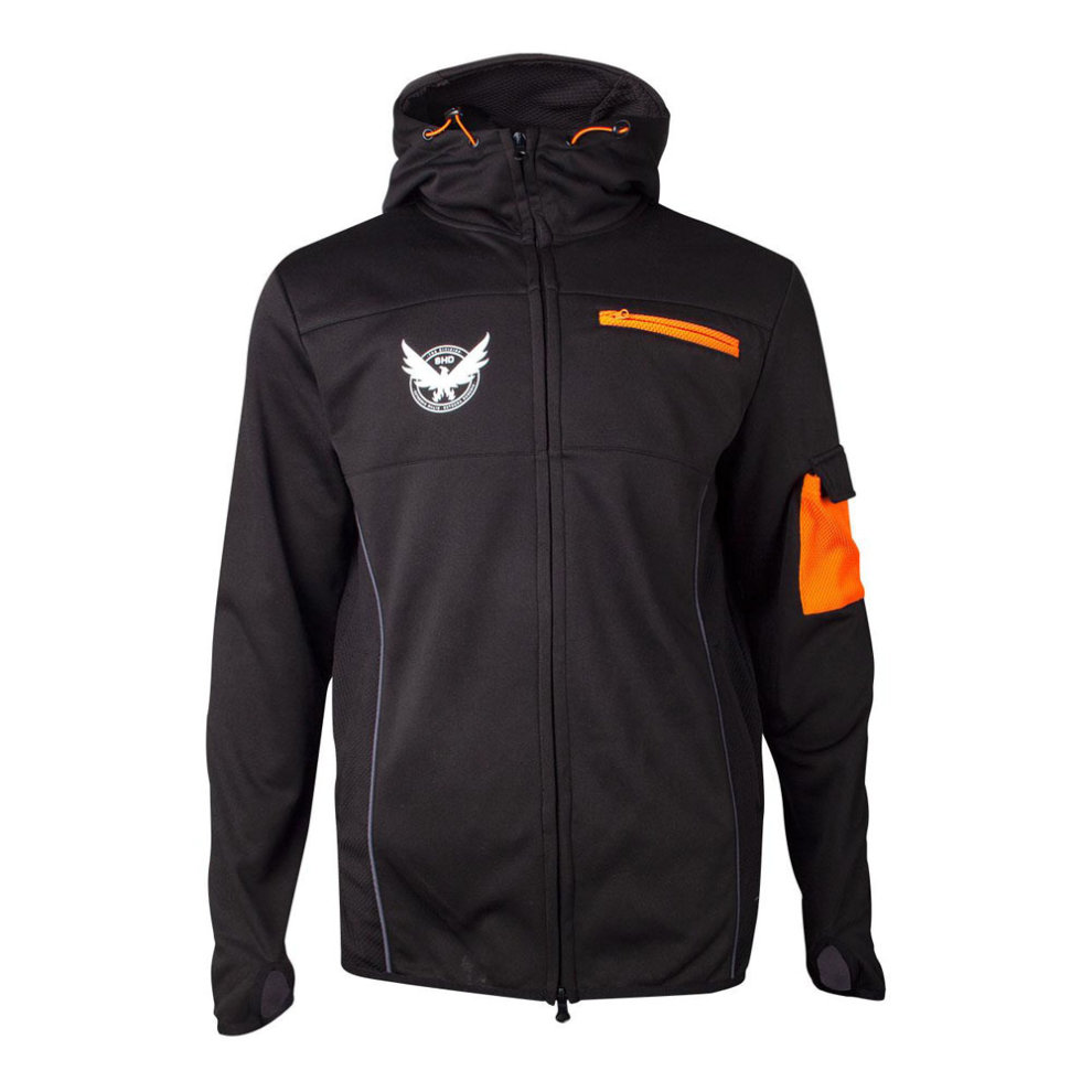TOM CLANCYS THE DIVISION M65 Operative Full Length Zipper Hoodie, Male, Small, Black/Orange HD352104CGR-S