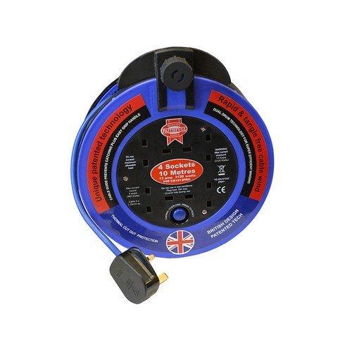 Faithfull FPPCR1013PRO Fast Rewind 4 Socket Cable Reel 10 Metre 3000 Watt 13 Amp
