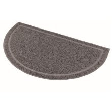 Cat Litter Tray Mat, Semi-circular, Pvc, 59 x 35 Cm, Anthracite - Mat Pvc New -  cat litter mat pvc tray new trays oval grey 2 sizes 40386 trixie 59