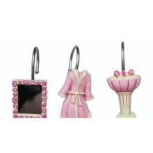 Set of 1 Unique Shower Curtain Hooks Pink and Blue Bathrobe Pattern Hooks