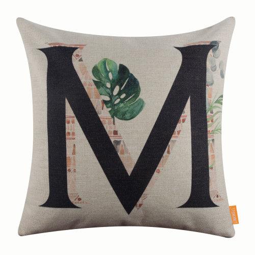 "18""x18"" Tropical Leaf Letter M Burlap Pillow Cover Cushion Cover"