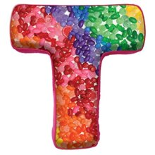 "iscream Luscious Letters! T Initial 16"" x 14.75"" Photoreal Fleece-Backed Microbead Pillow"