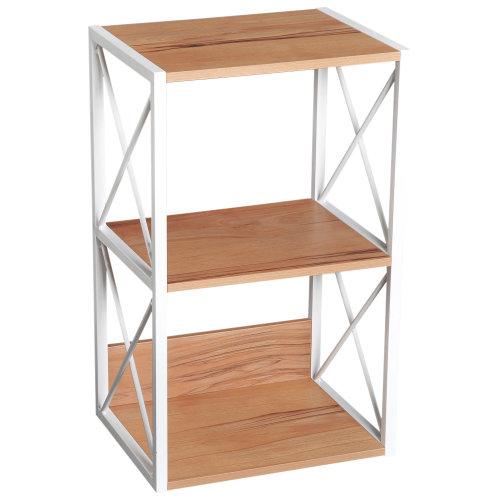 HOMCOM 3-Tier Wooden Shelf Freestanding Rack Organiser Display Bookcase Home Storage Utility Stand Multifunctional Holder