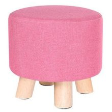 Creative Wood Linen for Shoe Stool Household Stool Round stool Children Adults Apply, Pink