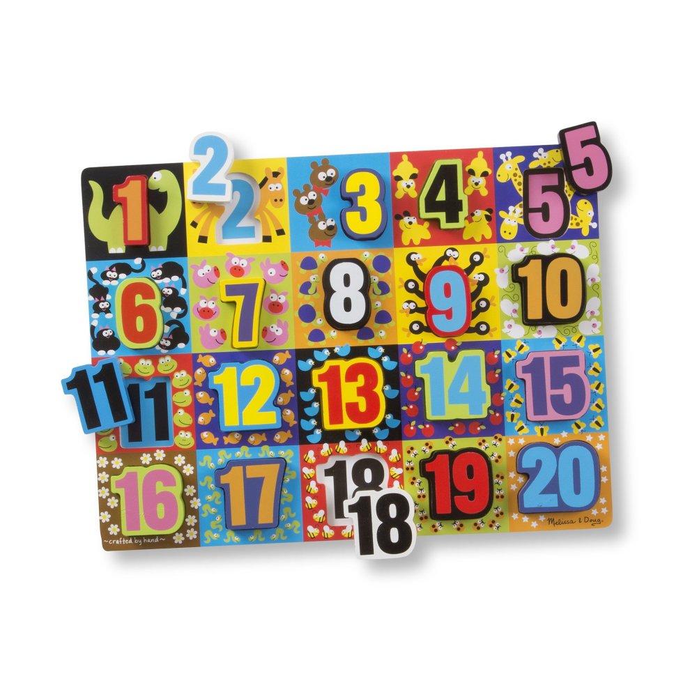 Melissa Doug Jumbo Numbers Wooden Chunky Puzzle 20 Pcs