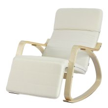 SoBuy® FST16-W, Rocking Chair Lounge Chair with Footrest Design