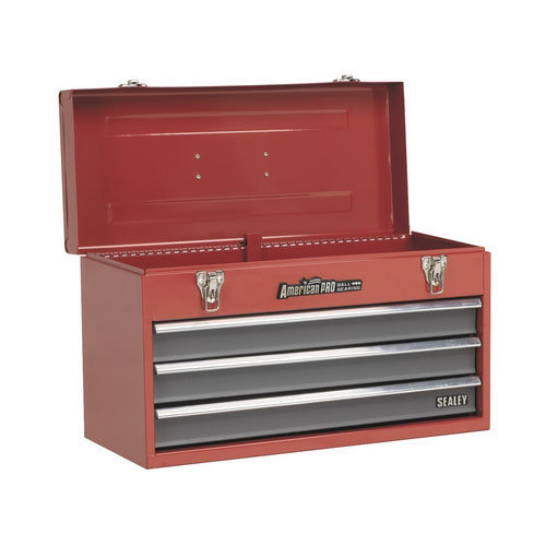 Sealey AP9243BB 3 Drawer Portable Tool Chest with Ball Bearing Runners - Red/Grey